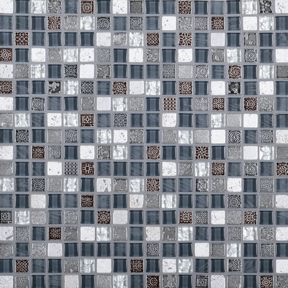 Daltile Marvel Mosaic - MV25 Illusion - 5/8 X 5/8 Glass Tile, Stone, and Metal Deco Tile Mosaic* SAMPLE *