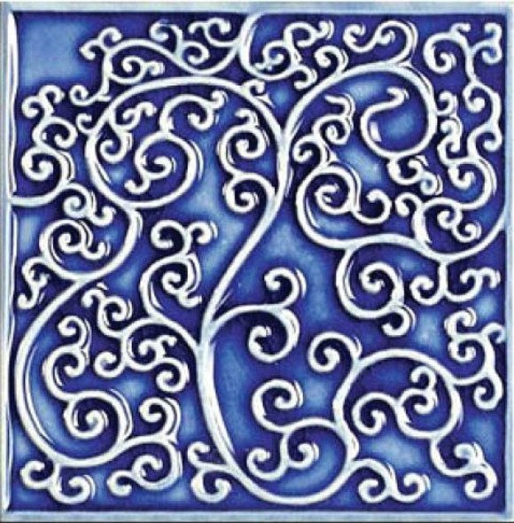 Bristol Studios - Nouveau - G2349 Nantes Blue Relief Deco - 6X6 Hand Crafted Decorative Tile - $2.95
