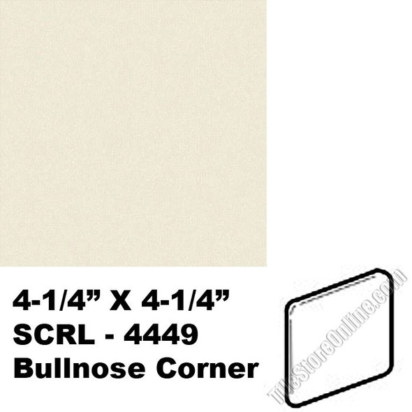 "Supplier: Daltile, Type: Glazed Ceramic Tile Accessory Trim Tile, Series: Semi Gloss Bullnose Corner, Name: 0135, Color: Almond, Category: Ceramic Tile, Price: $1.49, Size: 4.25""X4.25"""