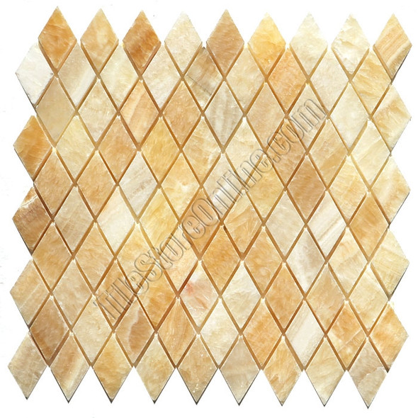 Onyx Rhomboid Mosaic Tile - Honey Onyx Diamond Mosaic - Polished * SAMPLE *