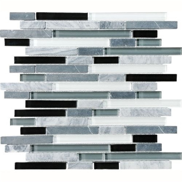 Eclipse Vintage Linear Glass and Stone Mosaic Tile - Strip Sticks of White & Gray Marble and Glossy Glass Tile * SAMPLE *