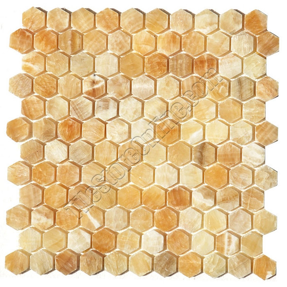 Onyx Hexagon Mosaic Tile - Honey Onyx Hexagon Mosaic - Polished * SAMPLE *