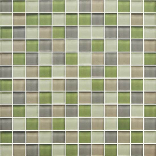 American Olean Color Appeal Glass Blends - C129 Willow Brook Blend - 1X1 Glass Tile Mosaic - Glossy - Sample
