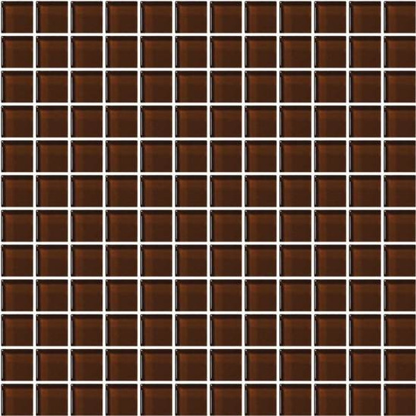 American Olean Color Appeal Glass - C114 Copper Brown - 1X1 Glass Tile Mosaic - Glossy - Sample