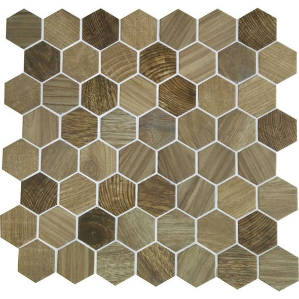 American Olean Entourage Crosswood Hexagon Glass - CR97 Sandpiper - Wood Look Glass Tile Mosaic - $12.99