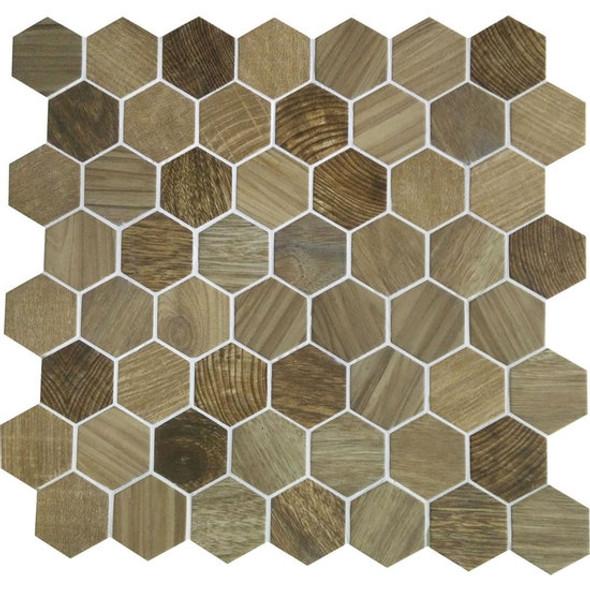 American Olean Entourage Crosswood Hexagon Glass - CR97 Sandpiper - Wood Look Glass Tile Mosaic - Sample