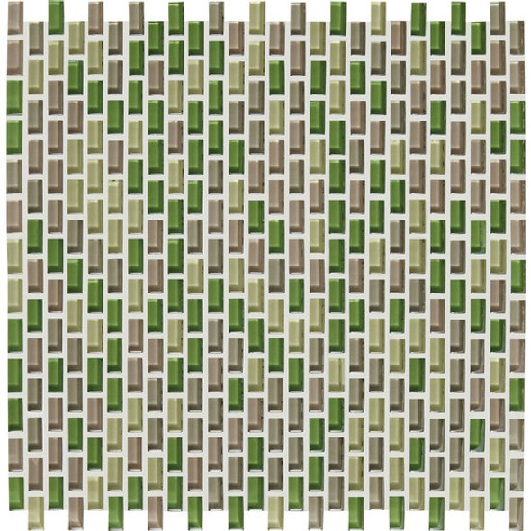 American Olean Color Appeal Renewal Entourage - Chain Link - C129 Willow Brook Blend - Micro Brick Glass Mosaic Tile - Sample