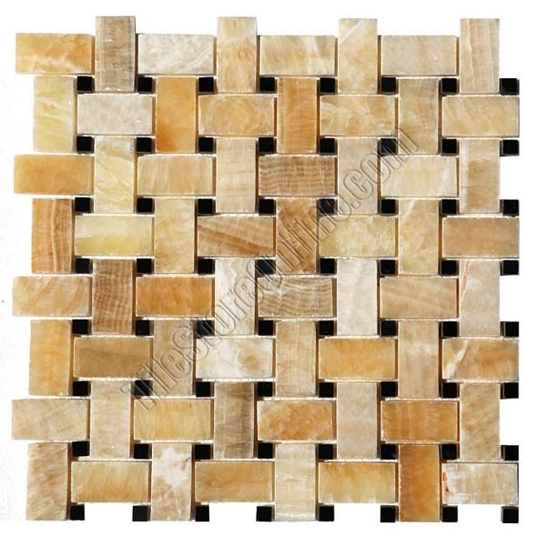 Onyx Basketweave Mosaic Tile - Honey Onyx Basket Weave with Black Marble Dot Mosaic - Polished * SAMPLE *
