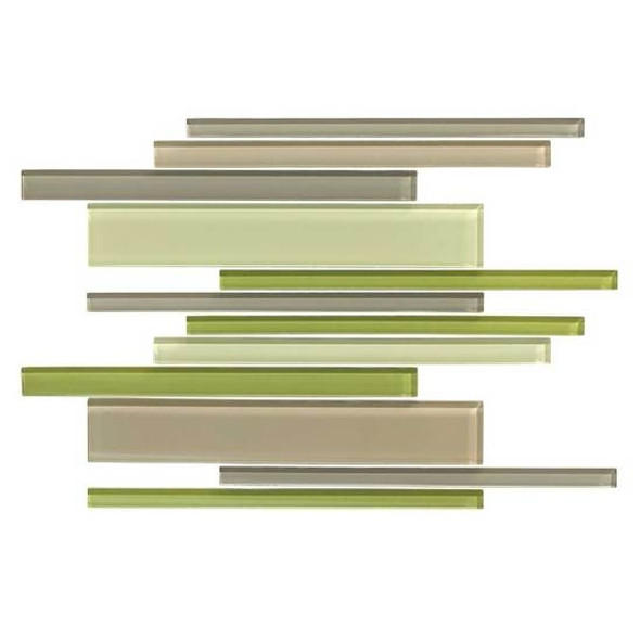 American Olean Color Appeal Glass Blends - C129 Willow Brook Blend - Random Interlocking Linear Glass Tile Mosaic - Glossy - Sample
