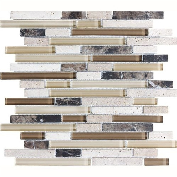 Eclipse Espresso Linear Glass and Stone Mosaic Tile - Strip Sticks of Emperador Dark Marble, Travertine, and Glossy Glass Tile * SAMPLE *
