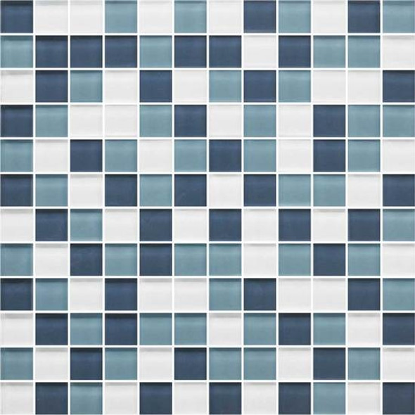 American Olean Color Appeal Glass Blends - C130 Blue Moon Blend - 1X1 Glass Tile Mosaic - Glossy - Sample