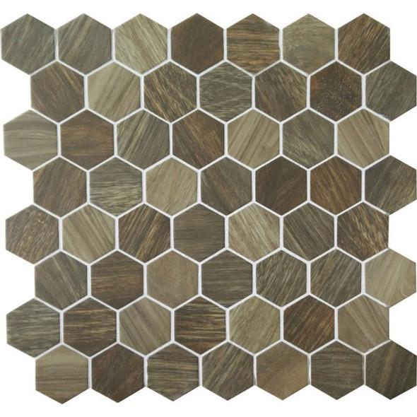 American Olean Entourage Crosswood Hexagon Glass - CR98 Heron - Wood Look Glass Tile Mosaic - Sample