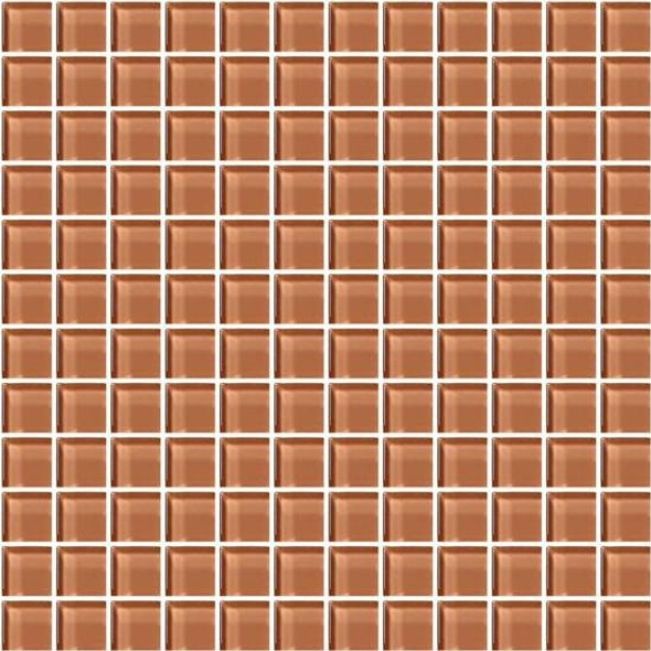 American Olean Color Appeal Glass - C115 Brandied Melon - 1X1 Glass Tile Mosaic - Glossy - Sample