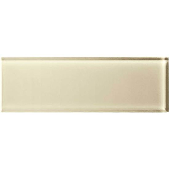 American Olean Color Appeal Glass - C104 Cloud Cream - 4X12 Subway Glass Tile Plank - Glossy - Sample