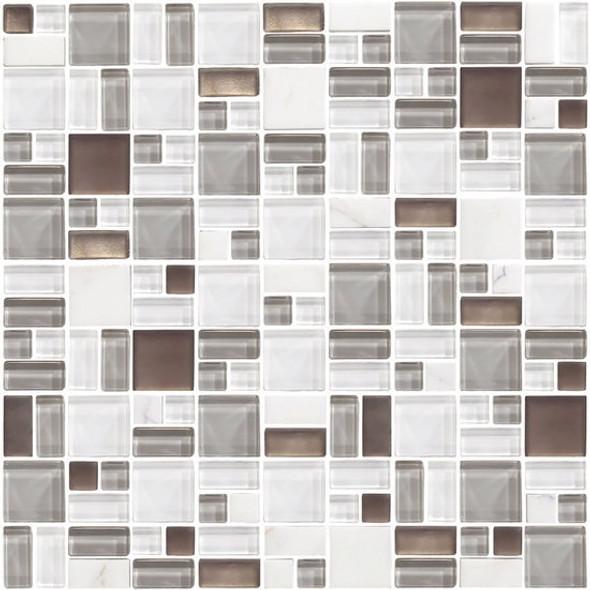 American Olean Entourage Fortify - FF01 Cloud - Block Random Glass & Stone Mosaic Tile - $14.99