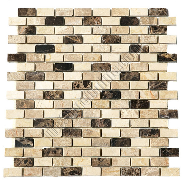 Type: Stone Mosaic, Series: Polished Mini Brick Marble Mosaic, Color: Crema Marfil, Emperador Light Emperador Dark, Category: Natural Stone Mosaics, Size: 5/8 X 1 1/4