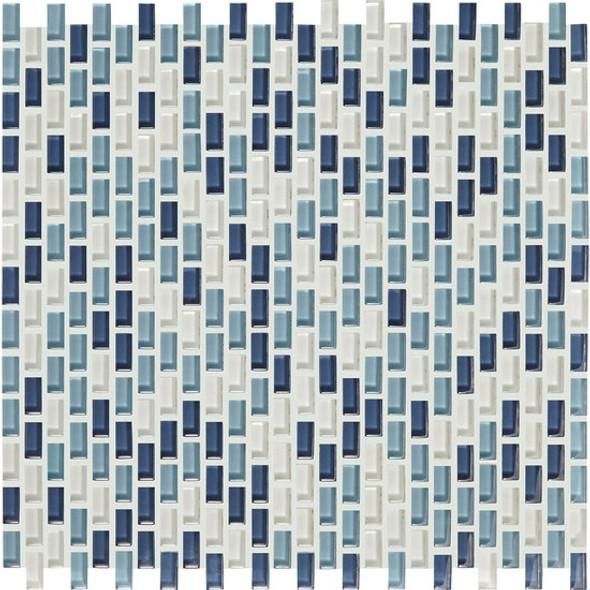 American Olean Color Appeal Renewal Entourage - Chain Link - C130 Blue Moon Blend - Micro Brick Glass Mosaic Tile - Sample