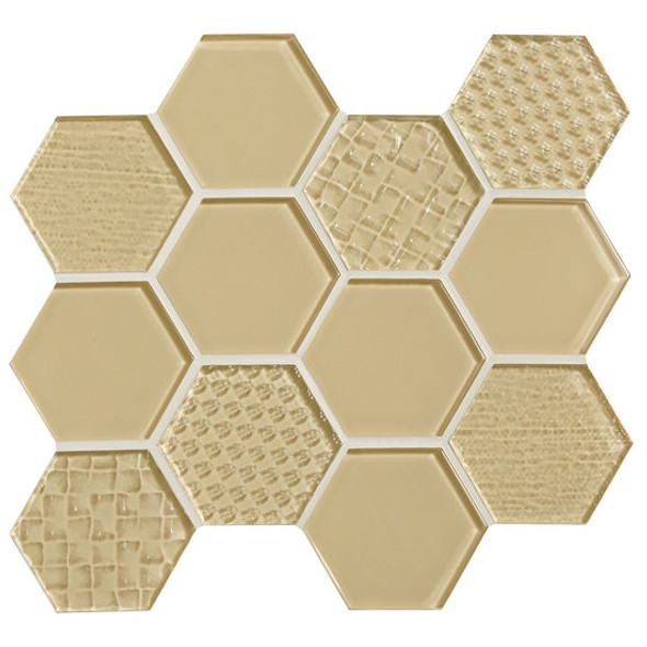 American Olean Color Appeal Entourage Felicity Hexagon Glass - C104 Cloud Cream - Glass Tile Mosaic - Sample