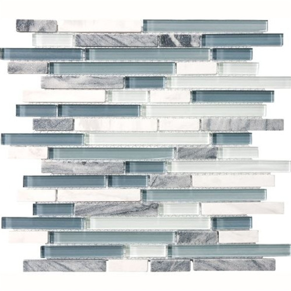 Supplier: Tilecrest, Series: Eclipse, Type: Glass Tile and Natural Stone Strips Sticks, Name: Marina, Color: Gray Blue, Category: Glass and Stone Mosaic Tile, Size: Various Mixed Size Strips