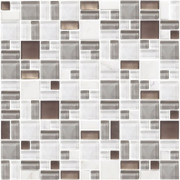 American Olean Entourage Fortify - FF01 Cloud - Block Random Glass & Stone Mosaic Tile - Sample