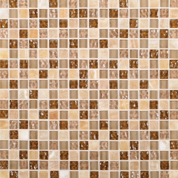 Daltile Marvel Mosaic - MV27 Allure - 5/8 X 5/8 Glass Tile, Stone, and Metal Deco Tile Mosaic* SAMPLE *