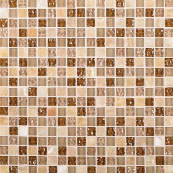 Daltile Marvel Mosaic - MV27 Allure - 5/8 X 5/8 Glass Tile, Stone, and Metal Deco Tile Mosaic* SAMPLE *