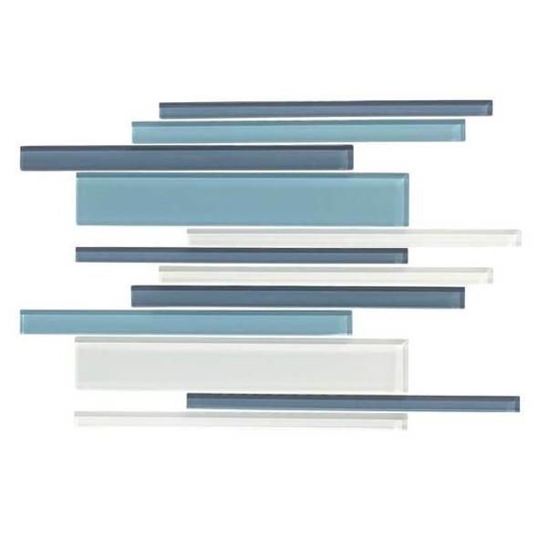 American Olean Color Appeal Glass Blends - C130 Blue Moon Blend - Random Interlocking Linear Glass Tile Mosaic - Glossy - Sample