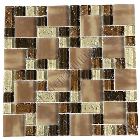 Crackle Glass Tile - Various Sized Crackled Glossy Glass and Frosted Glass Tile Mosaic - Brown Blend * SAMPLE *