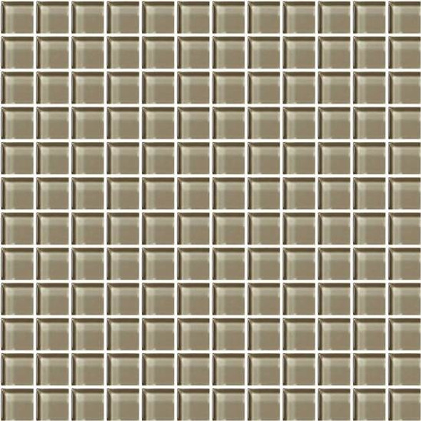American Olean Color Appeal Glass - C105 Plaza Taupe - 1X1 Glass Tile Mosaic - Glossy - Sample