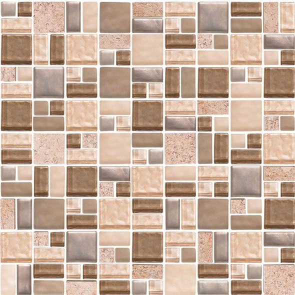 American Olean Entourage Fortify - FF02 Crater - Block Random Glass & Stone Mosaic Tile - Sample