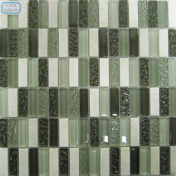 Bristol Studios - Crystal Stone - G2282 Verde Bricks - 5/8 X 1-7/8 Brick Subway Glass & Stone Tile Mosaic - Sample