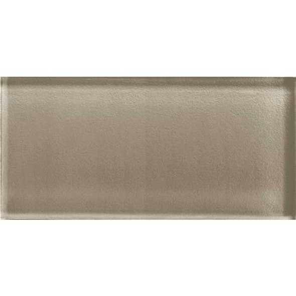 American Olean Color Appeal Glass - C105 Plaza Taupe - 3X6 Brick Subway Glass Tile - Glossy - Sample