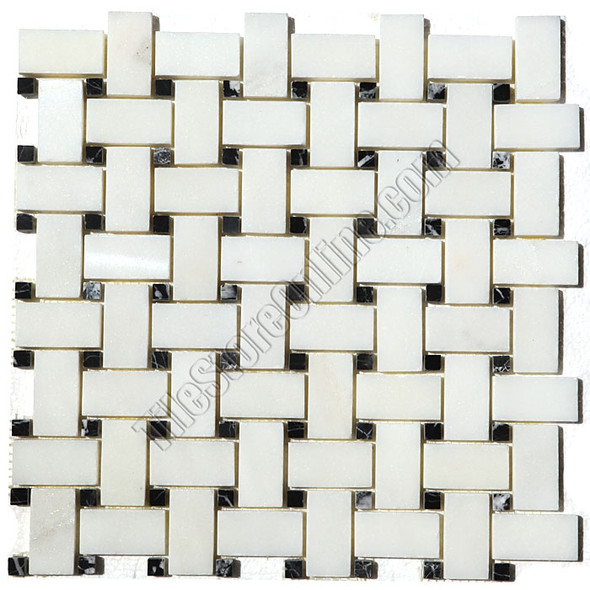 Basketweave Marble Mosaic Tile - China White Basket Weave with Black Marble Dot Mosaic - Polished * SAMPLE *
