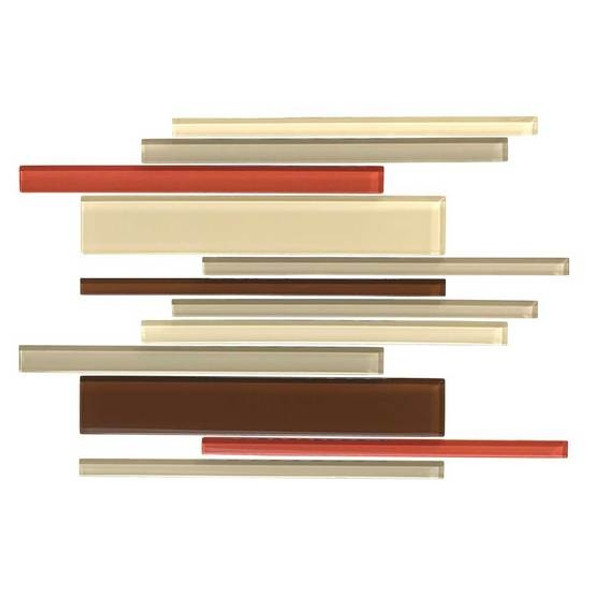 American Olean Color Appeal Glass Blends - C131 Earth Fire Blend - Random Interlocking Linear Glass Tile Mosaic - Glossy - Sample