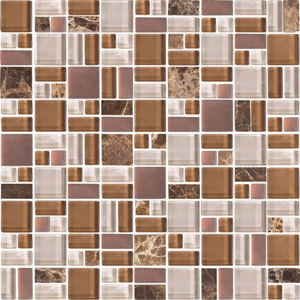 American Olean Entourage Fortify - FF03 Ember - Block Random Glass & Stone Mosaic Tile - Sample