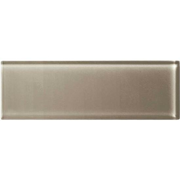 American Olean Color Appeal Glass - C105 Plaza Taupe - 4X12 Subway Glass Tile Plank - Glossy - Sample