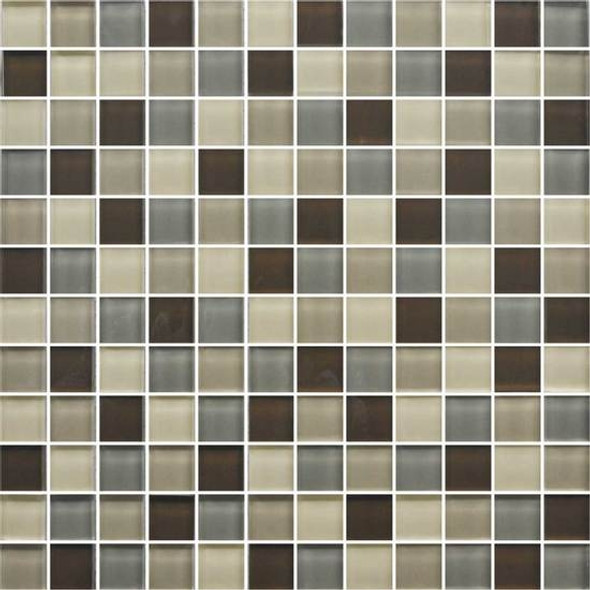 American Olean Color Appeal Glass Blends - C132 Pecan Grove Blend - 1X1 Glass Tile Mosaic - Glossy - Sample