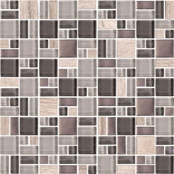 American Olean Entourage Fortify - FF04 Ash - Block Random Glass & Stone Mosaic Tile - $14.99