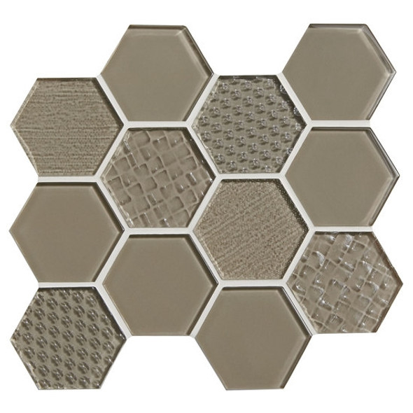 American Olean Color Appeal Entourage Felicity Hexagon Glass - C105 Plaza Taupe - Glass Tile Mosaic - Sample
