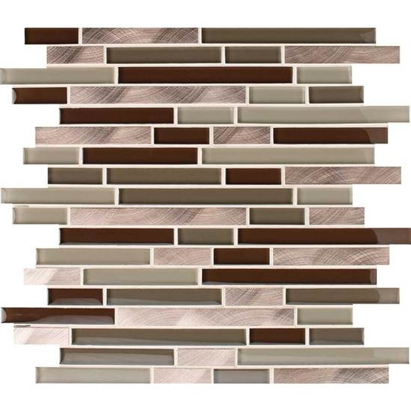 American Olean Morello - MM05 Topaz- 5/8 X Linear Glass and Aluminum Metal Tile Strip Stick Mosaic *SAMPLE*
