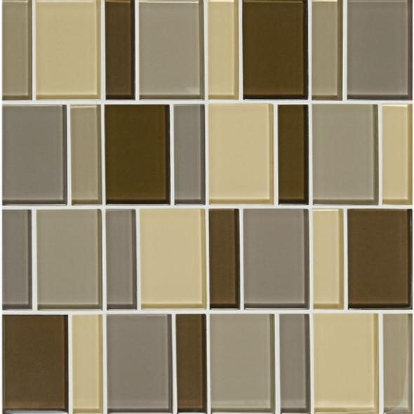 "American Olean Color Appeal Renewal Entourage - 3"" Block - C132 Pecan Grove Blend - Glass Mosaic Tile - Sample"