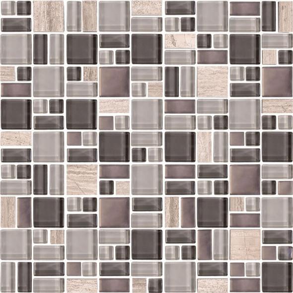 American Olean Entourage Fortify - FF04 Ash - Block Random Glass & Stone Mosaic Tile - Sample