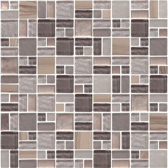 American Olean Entourage Fortify - FF05 Rock - Block Random Glass & Stone Mosaic Tile - $14.99