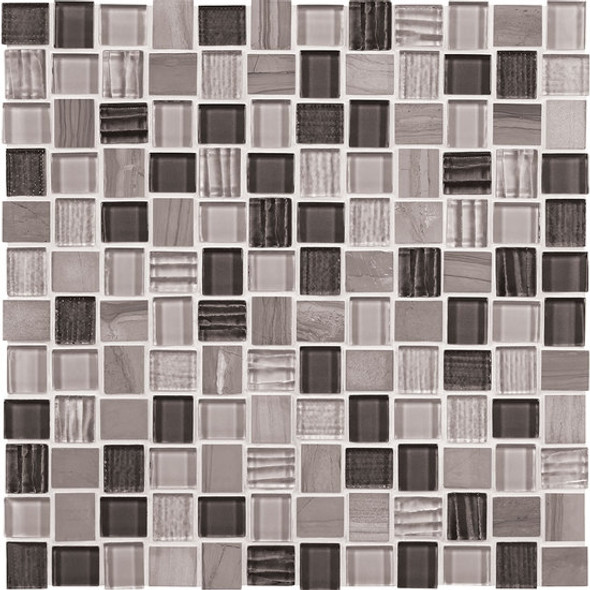 American Olean Entourage Marble Weave - MW04 Great Giza Blend - 1 X 1 Weave Offset Glass & Stone Mosaic Tile - Sample