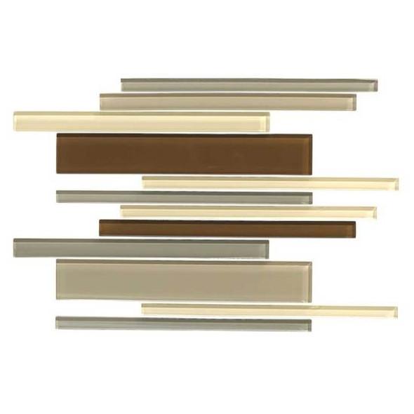 American Olean Color Appeal Glass Blends - C132 Pecan Grove Blend - Random Interlocking Linear Glass Tile Mosaic - Glossy - Sample