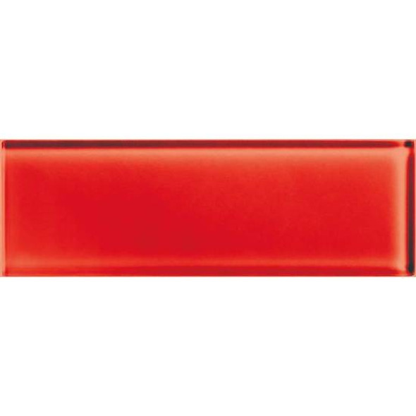 American Olean Color Appeal Glass - C117 Cherry - 4X12 Subway Glass Tile Plank - Glossy - Sample