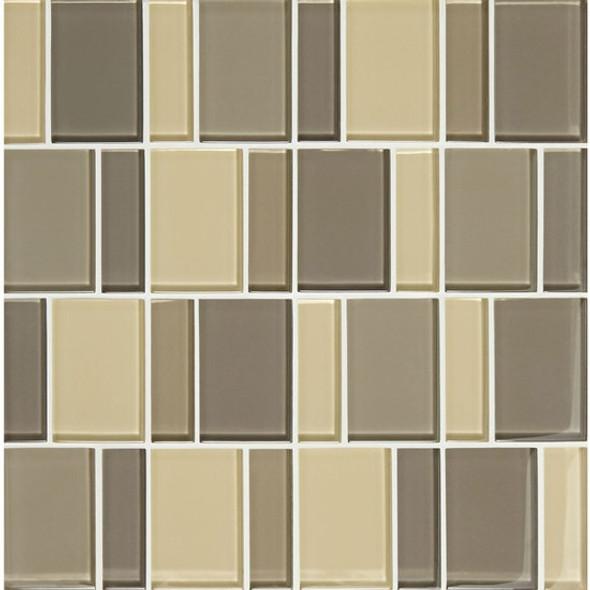 "American Olean Color Appeal Renewal Entourage - 3"" Block - C133 Sand Storm Blend - Glass Mosaic Tile - Sample"