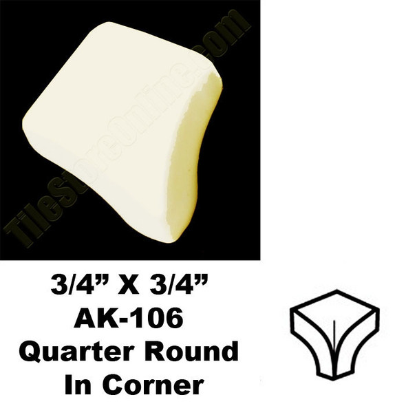 Daltile - AK106 Quarter Round IN Corner - 0135 Almond - Dal Tile Ceramic Finish Trim