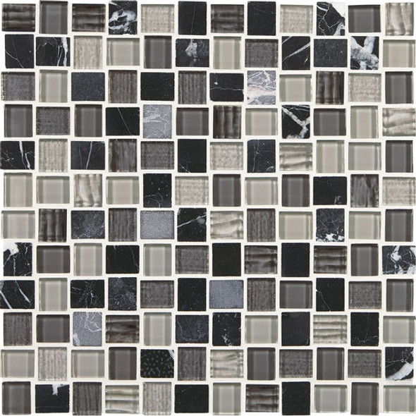 American Olean Entourage Marble Weave - MW05 Colosseum Nights Blend - 1 X 1 Weave Offset Glass & Stone Mosaic Tile - Sample