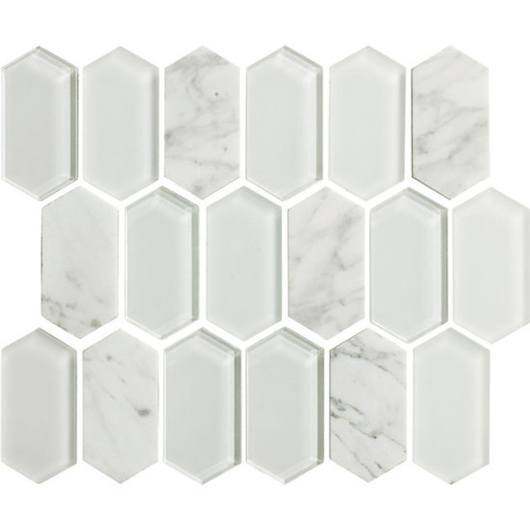 "American Olean Entourage Alair - AL14 Cotton - 2"" X 4"" Long Hexagon Glass & Stone Mosaic Tile - Sample"